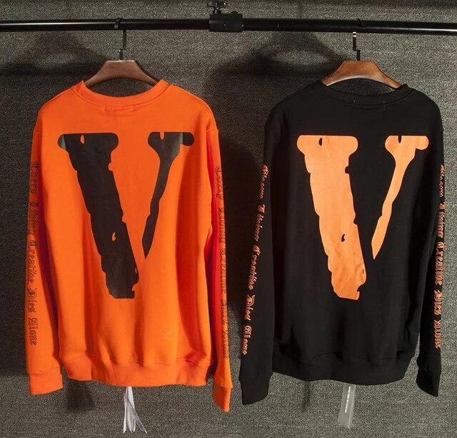 Vlone х off белый мужчины хип-хоп 3d печати sweatershirts kanye west мужская хлопка высокого качества толстовки sweatershirt