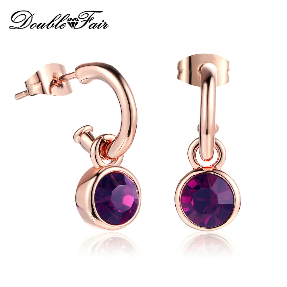 Simple Elegant Cubic Zirconia Drop Earrings 6+ Colors Optional Fashion Brand Jewelry Vintage Wholesale For Women DFE070M