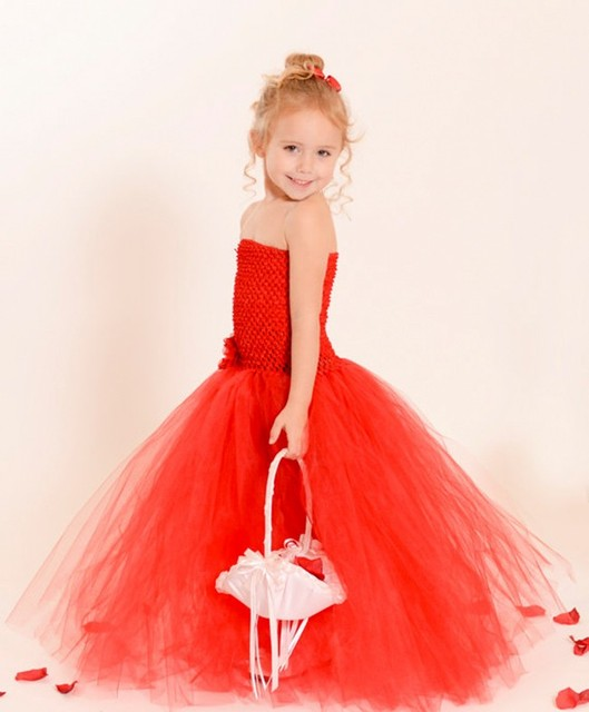 4f13fe1f631f7 Kırmızı fluffly Kız Elbise Tül çiçek Kız Tutu gelinlik Inspired kostüm yeni Doğum  Günü partisi Çocuklar