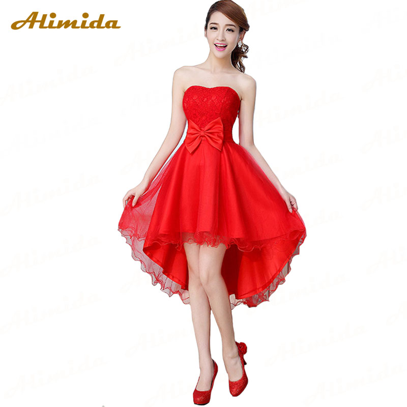 Alimida Short Homecoming Dresses 2017 Red Formal Dresses With Bow Asymmetrical Under 50 Wedding Party Dress Strapless In Homecoming Dresses From