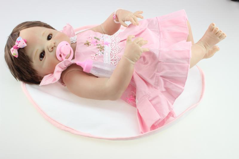 58cm full silicone reborn baby doll toys, play house pink dress princess reborn babies nude kids child brithday girls brinquedos multi function parent child play toys fishing electric toys blue pink