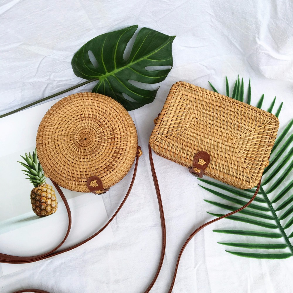 Personalized fashion design female natural rattan Hand-woven bag Straw bag Rattan bag Small round small square bagPersonalized fashion design female natural rattan Hand-woven bag Straw bag Rattan bag Small round small square bag