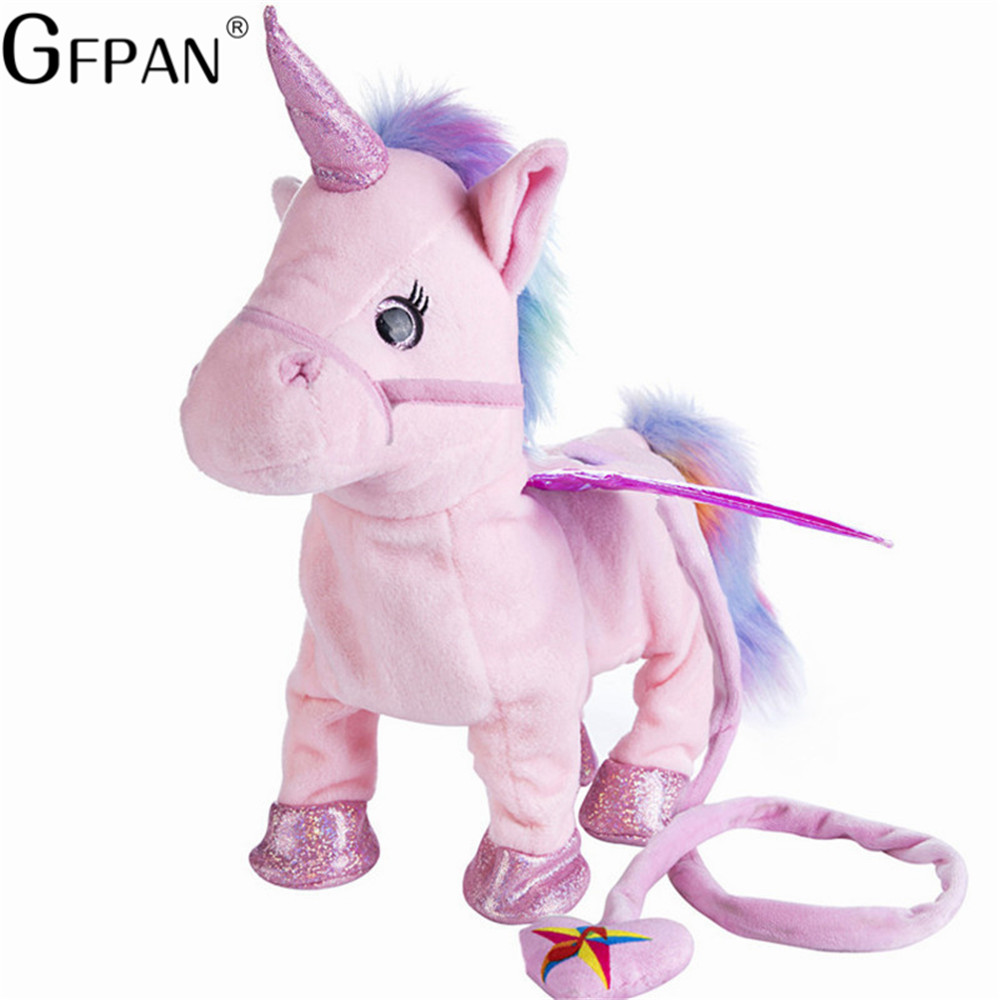 Hot Toys 35cm Electric Walking Unicorn Plush Toy Stuffed Animal Toy Electronic Music Unicorn Toy For Children Christmas Gifts