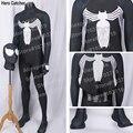 Hero catcher alta calidad por encargo nueva venom traje negro venom spiderman cosplay 3d impresión spandex lycra traje