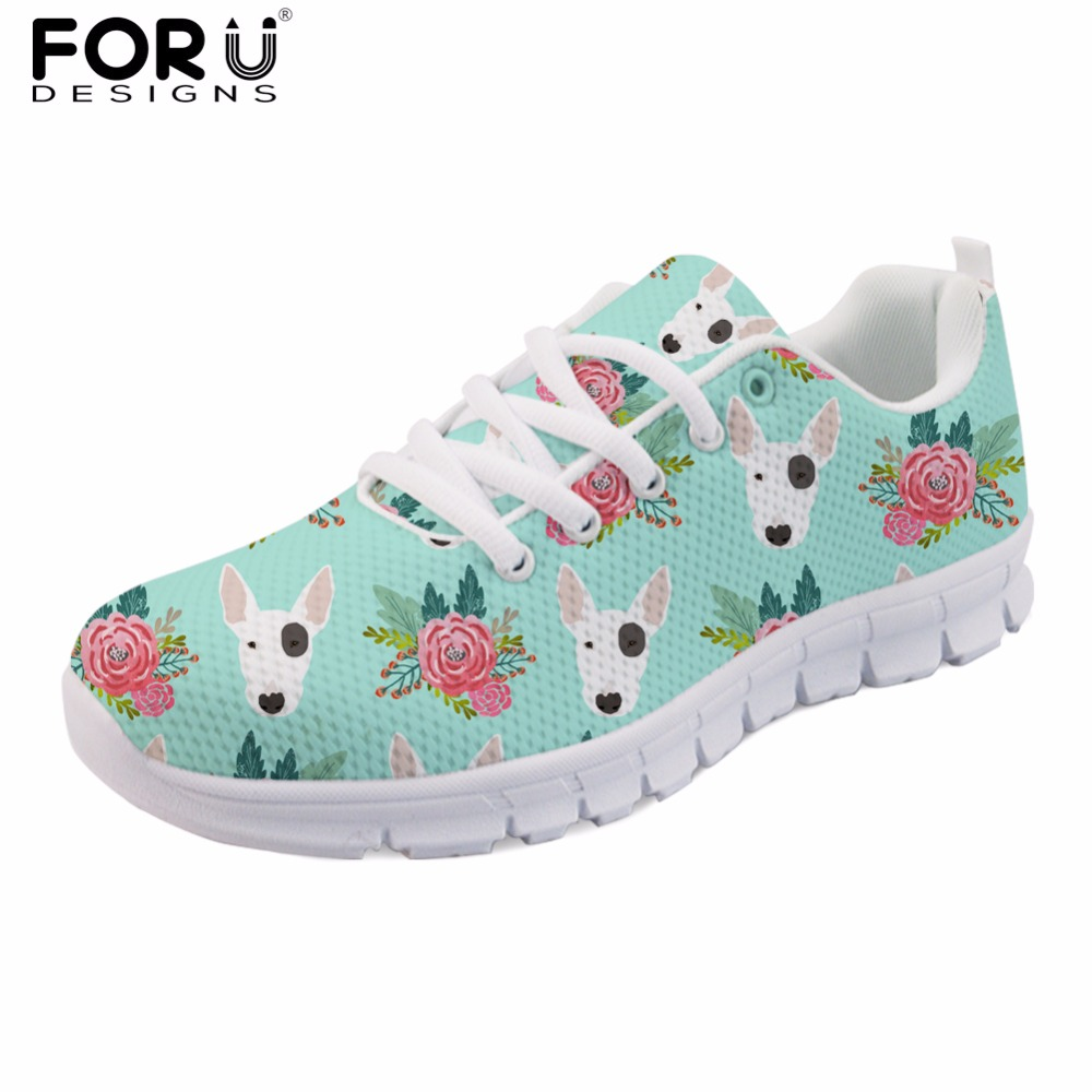 FORUDESIGNS Cute Women Spring Shoes Animal Bull Terrier Printed Women's Sneakers Casual Female Flats Lace-up Shoes Woman Zapatos forudesigns 3d flowers pattern women casual sneakers comfortable mesh flats shoes for female girls lace up shoes zapatos mujer