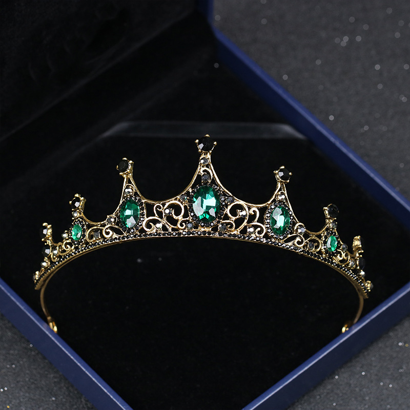 SSYFashion New Bridal Crown Noble Vintage Emerald Rhinestone Inlay Gold Crown Handmade Headwear For Women Hair Accessories