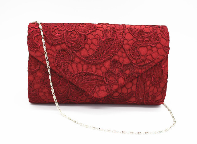KEENICI Hollow Lace Clutch Bag New Lace Satin Evening Bags High-grade Silk Party Bag Exquisite Day Clutches Crossbody Chain Gift