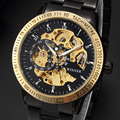 Hot Sale Luxury Golden Luminus Automatic Mechanical Watch For Male Hollow Skeleton Dial Black Stainless Steel Band Wristwatches
