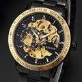 Venda de Luxo Hot Ouro Luminus Relógio Para O Sexo Masculino Oco Esqueleto Mecânico Automático Mostrador Preto de Aço Inoxidável Banda relógios de Pulso