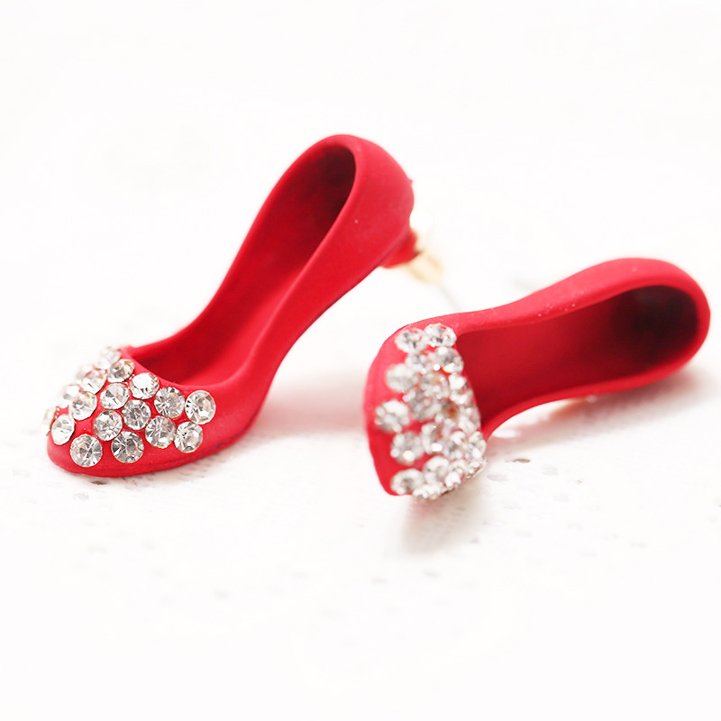 High-heeled Shoes Earrings For Women Rhinestone Stud Earrings Korean Design 2017 Fashion Brincos Vintage Jewelry Christmas XE82