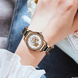 Image 4 - クォーツ女性のファッション防水腕時計 2019 トップブランドの高級レディースセラミックスステンレス鋼の女性の腕時計レロジオ Feminino