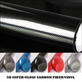 "6""x60"" 5D Ultra Shiny Gloss Glossy Black Carbon Fiber Vinyl Wrap Sticker Decal DIY car"
