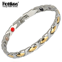 Hottime 20CM Top Quality Bio Health Men Bracelet Bangle 316L Stainless Steel Magnetic Care Jewelry Silver
