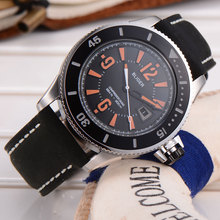 Modisch 43mm Bliger black bezel black dial orange marks mineral crystal miyota Automatic Self-Wind movement Men's Watch