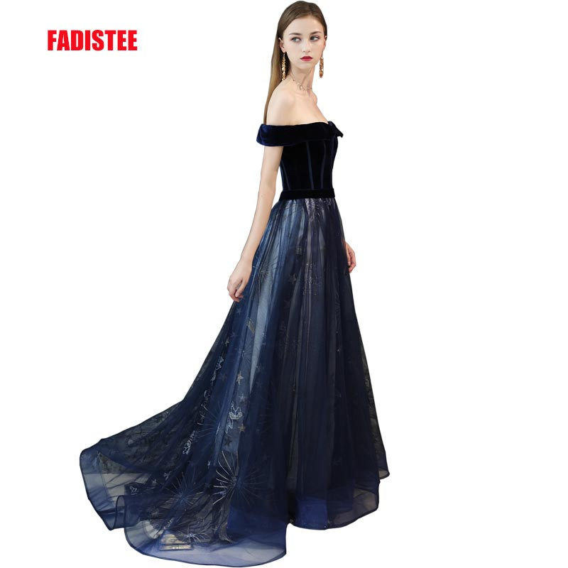FADISTEE 2019 New arrival party   dress     evening     dress   Vestido de Festa sexy lace velour A-line belt prom gown navy new style