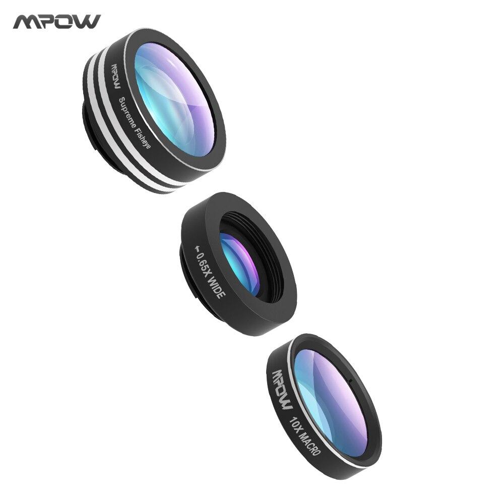 imágenes para Mpow 3 en 1 Clip-On Teléfono Lente de la Cámara de 180 Grados de ojo de Pez lente + 0.65X Granangular + 10X Lente Macro para el iphone etc teléfonos celulares
