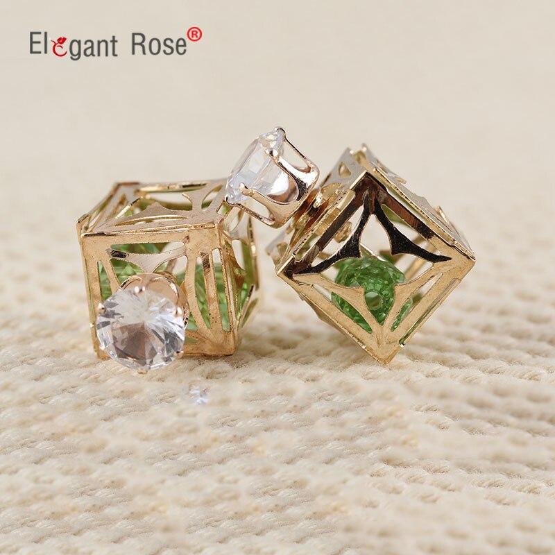 2018 Fashion Women Jewelry Gold Pated Aros Earrings Luxury Rhinestone Ball Double Sided Stud Earrings for Charm Women Girl E1591
