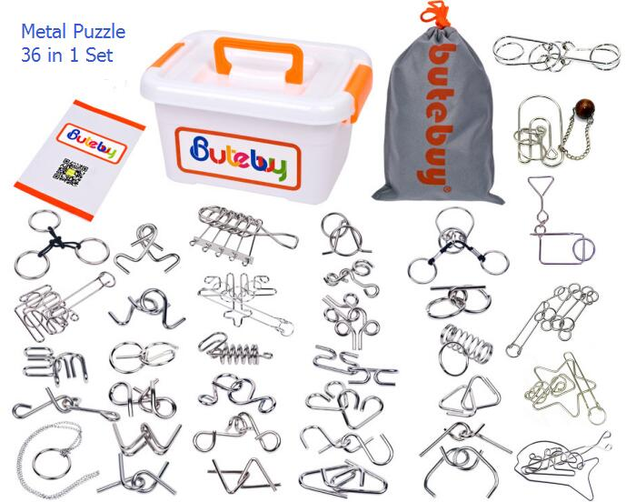 Novelty 36PCS per Set IQ Metal Wire Puzzle Magic Mind Brain Teaser Puzzles Game Toys for Adults Children classic peg solitaire solo noble puzzle iq mind brain teaser puzzles board wooden game toys for adults children