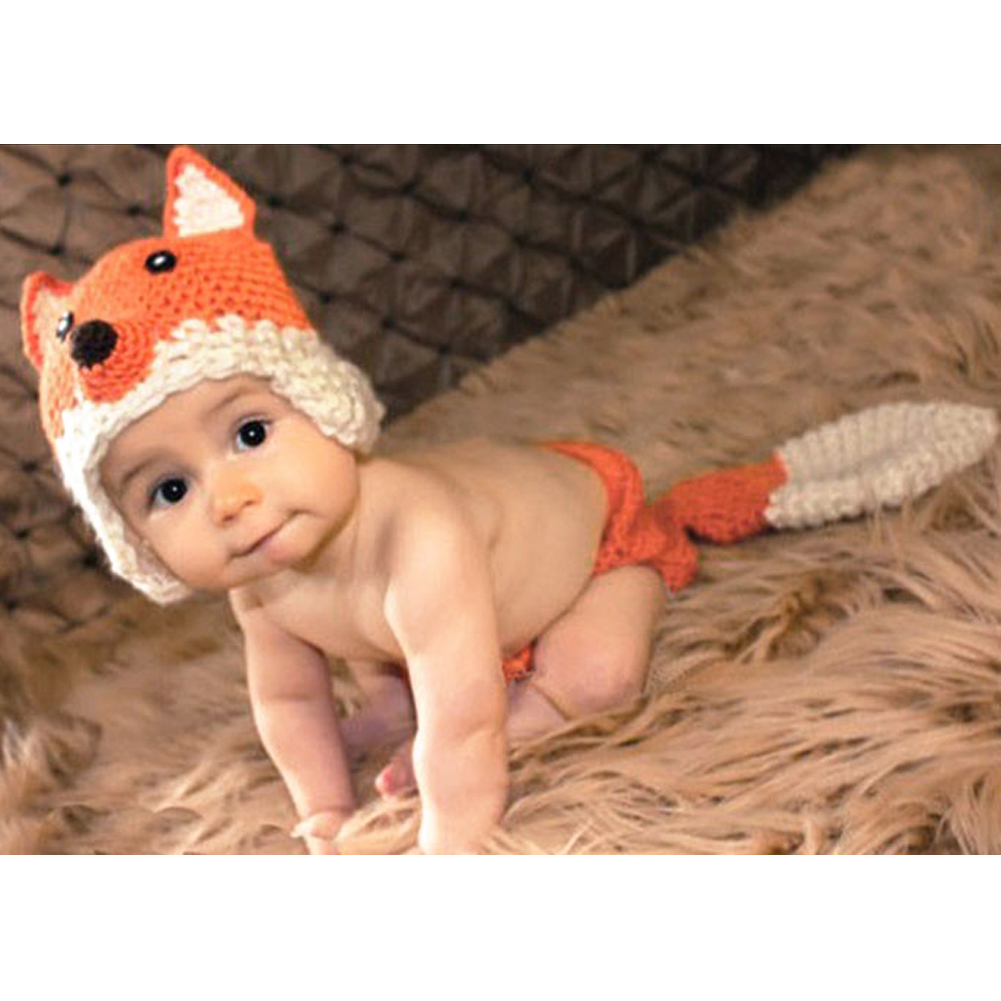 Newborn Crochet Baby Fox Orange Costume Photography Props Knitting Baby Hat Bow Infant Baby Photo Props baby photo props hot animals infant rabbit cotton crochet costume baby shower birthday party photography prop