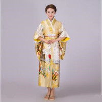 2018 Cosplay Japanese Kimono Ladies'National Stage Costume Printed Clothing Women Loose Style Three Quarter Sleeve Long Clothes