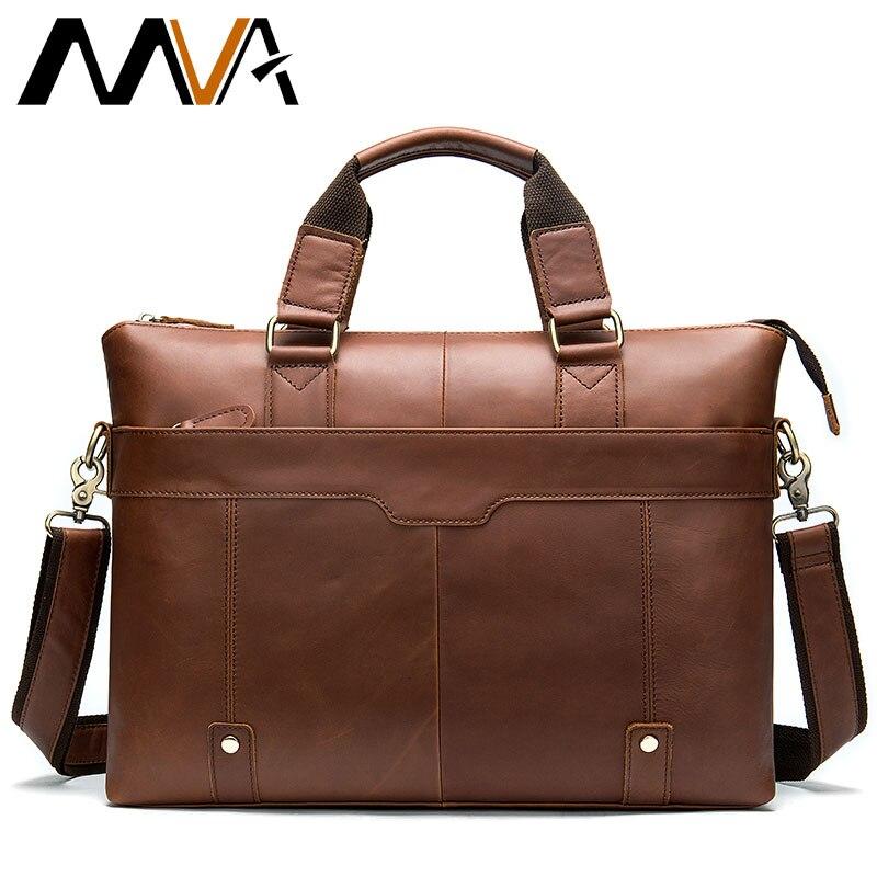 MVA حقيبة رجالية جلدية محمول الرجال حقيبة حقيبة مكتب الرجال حقيبة جلدية أصلية الرجال الكمبيوتر حقائب عمل رجل يد 7108-في حقائب جلدية من حقائب وأمتعة على  مجموعة 1