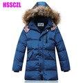 Muchachos del invierno abajo capas de la chaqueta tapa Desmontable cuello de piel artificial boy kids chaquetas de prendas de vestir exteriores 130-170 niños parka