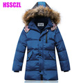 winter boys down jacket coats Detachable cap artificial fur collar boy kids outerwear plus 130-170 children's jackets parka