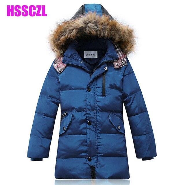 winter boys down jacket coats Detachable cap artificial fur collar boy kids outerwear plus 130-170 children's jackets parka