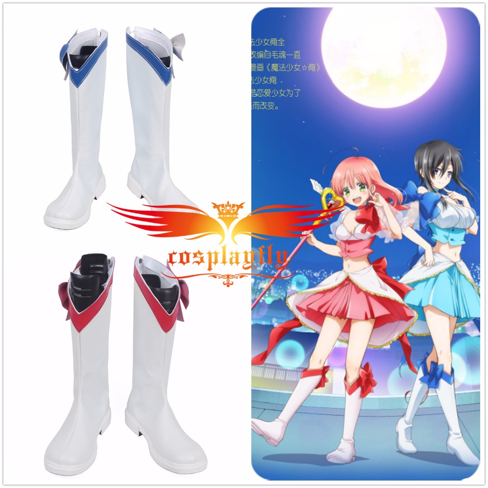 Mahou Shoujo Ore Mikage Sakuyo Unosaki Pink/Blue Adult Shoes Cosplay Adult Boots (Gender, height, foot length, calf around)