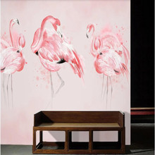 Factory direct Nordic hand painted watercolor flamingo background wall, TV, bedroom, living room wall