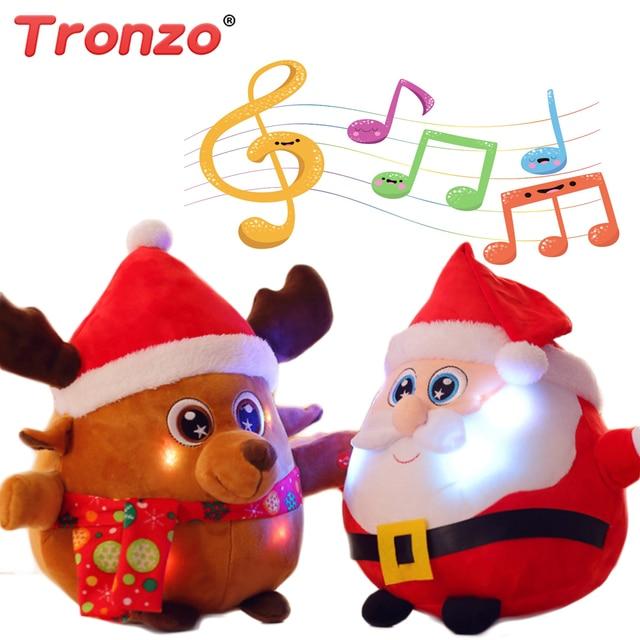 tronzo christmas decoration 2535cm plush santa claus reindeer singing christmas song and flashing light - Singing Christmas Toys
