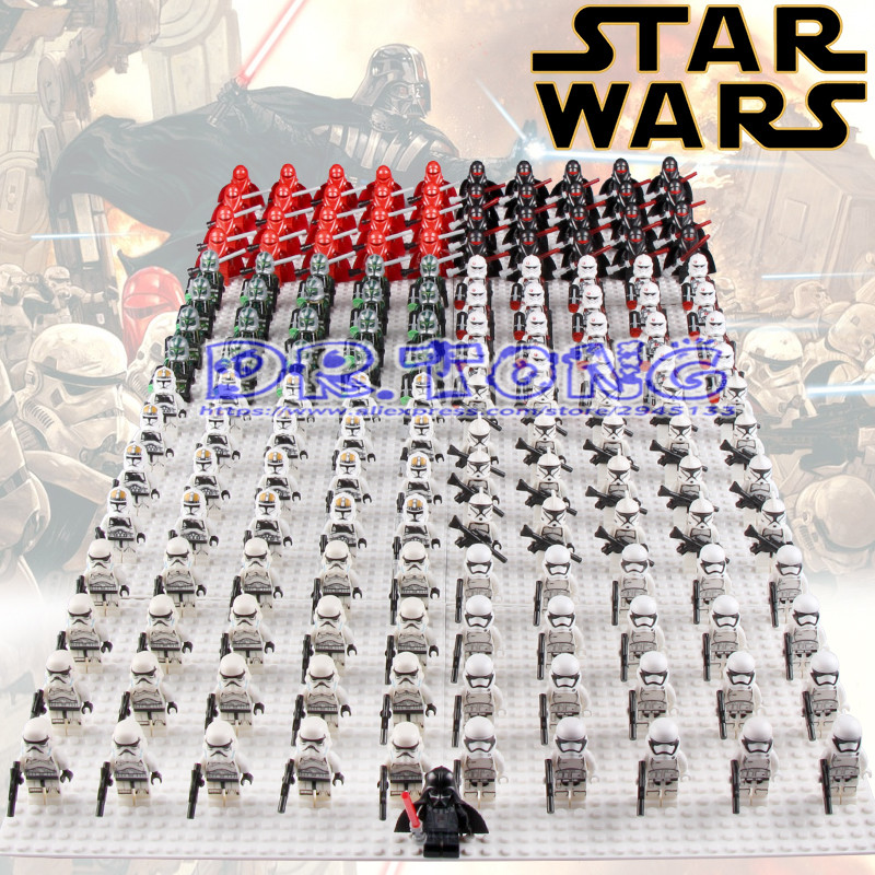 DR.TONG 21pcs/lot STAR WARS White Clone Yellow Utapau Trooper Army Darth Vader with Weapon Commander Building Blocks Bricks Toys ksz star wars minifig darth vader white storm trooper general grievous figure toys building blocks