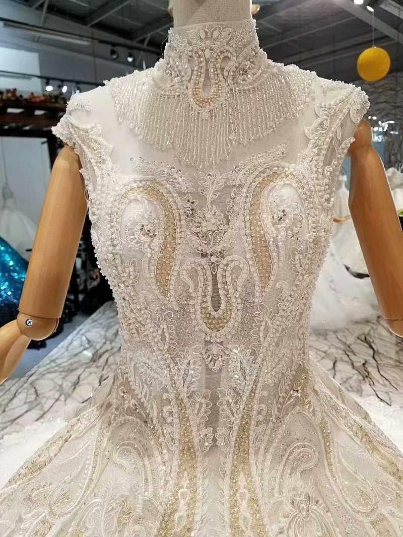 LS647411 роскошное дубайское вечернее платье с высоким кристальным вырезом без рукавов Свадебное прозрачное расшитое бисером свадебное платье быстрая бесплатная доставка
