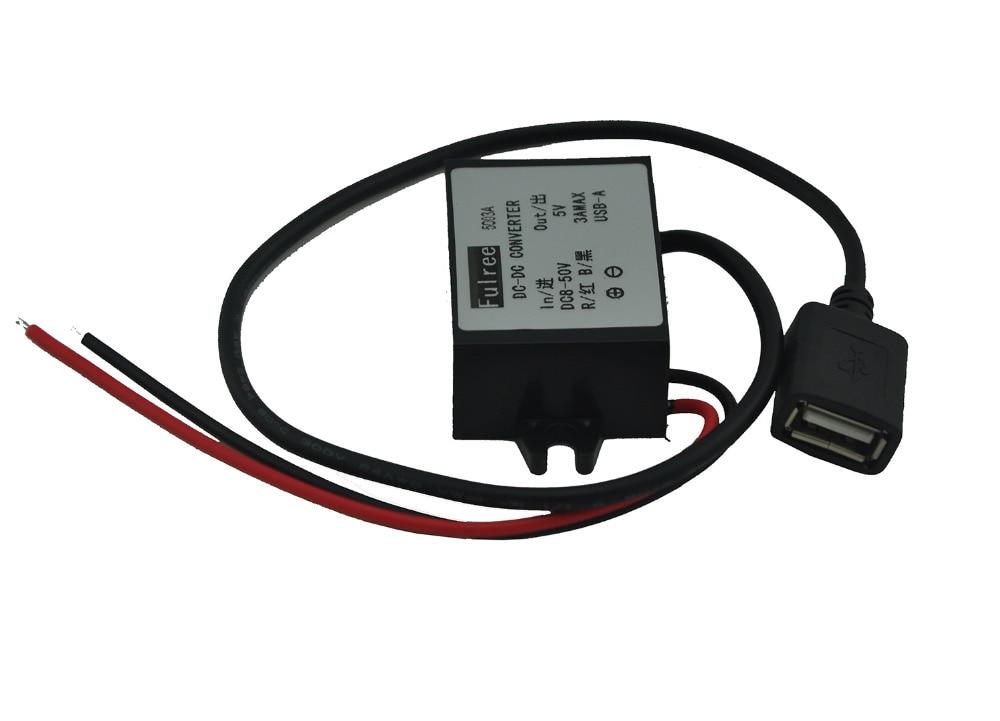 Converter DC 12V 24V 36V 48V (8V-50V) Buck to 5V 3A Output USB Step Down Power Module Regulator Waterproof
