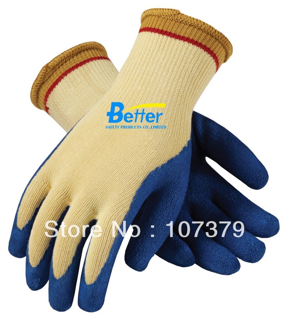 Latex Working Gloves Cut Resistant Aramid Fiber Glove 100% Aramid Fiber Latex Coated Cut Resistant Work Glove
