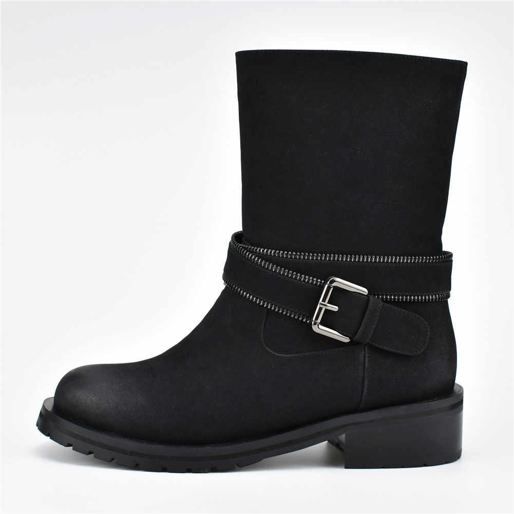 BONJOMARISA/брендовая Дизайнерская обувь на среднем каблуке, с ремешком и пряжкой, на молнии, с круглым носком, женские повседневные Зимние ботильоны, большие размеры 35-42