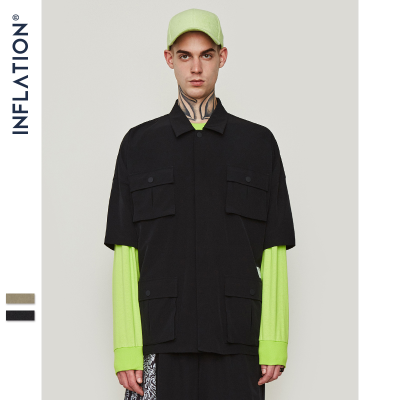Image 4 - INFLATION Multi pocket Casual Shirt Oversize Short Sleeve Shirt  Mens Dress Shirts Brand Casual Fashion Hip hop Style Shirt 9212SCasual  Shirts