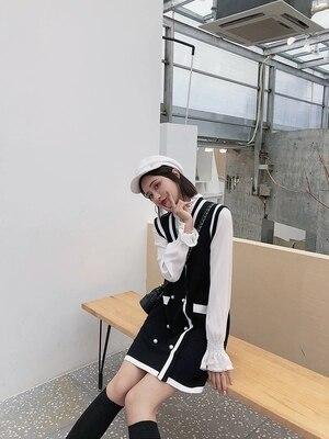 pièce 1 Deux Mode Gilet Costume Laine Chandail Jupe qwRqXYp0z