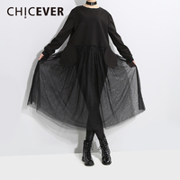 CHICEVER Spring Patchwork Lace Women Dress Perspective Black Loose Big Size High Waist Dresses Female Clothes