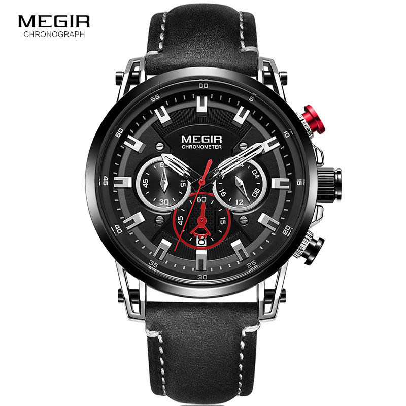 Megir Men's 24 Hours Quartz Watches Leather Strap Chronograph 3atm Waterproof Army Wristwatch Man Relogios Masculino 2085 Black