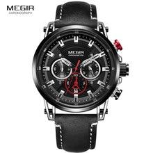 Megir Mens 24 Hours Quartz Watches Leather Strap Chronograph 3atm Waterproof Army Wristwatch Man Relogios Masculino 2085 Black