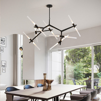 Customizied Post Modern Nordic Herringbone Contemporary Pendant Light Living Room Dining Room Dimmable G9 Bulb Hanging Lamps LED