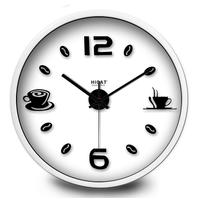 Simple Design Office Coffee Beans Wall Clock Art Style Afternoon Tea