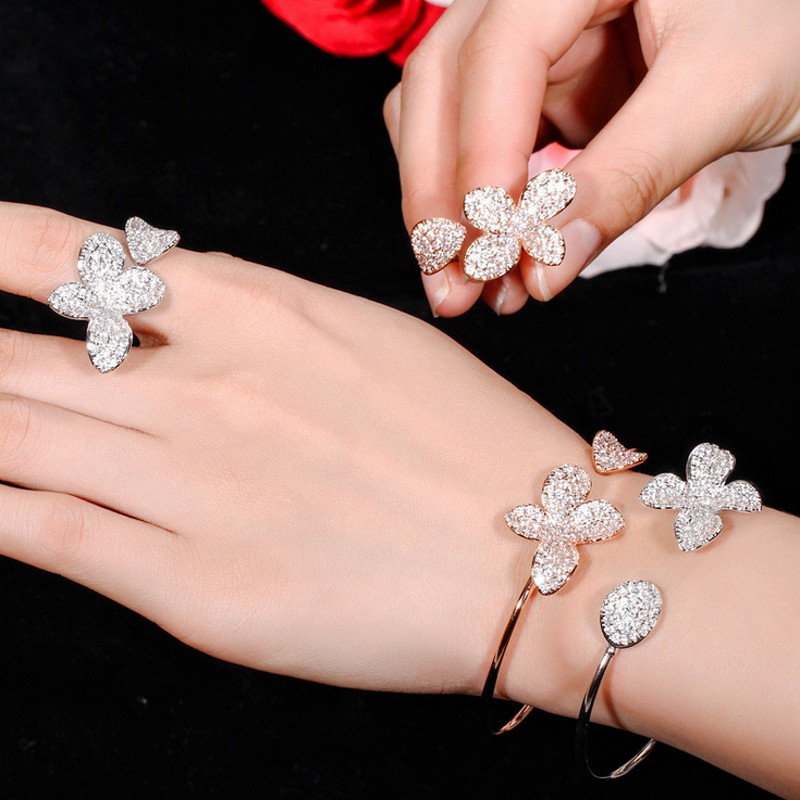 2019 New Arrival Hot Sale Luxury Jewelry 925 Sterling Silver Pave CZ Eternity open Ring adjustable Bangle Flower Bracelet Set