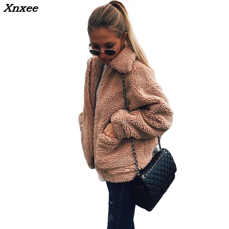 Autumn 2018 Winter   jacket   Women outwear & coats female Faux lambswool Big size Women Loose Lapel   basic     jackets   Womens   jacket