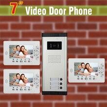 7″ Apartment Video Door Phone Intercom System Apartment Intercom System for 3 unit Apartments Video doorbell Interphone Kit