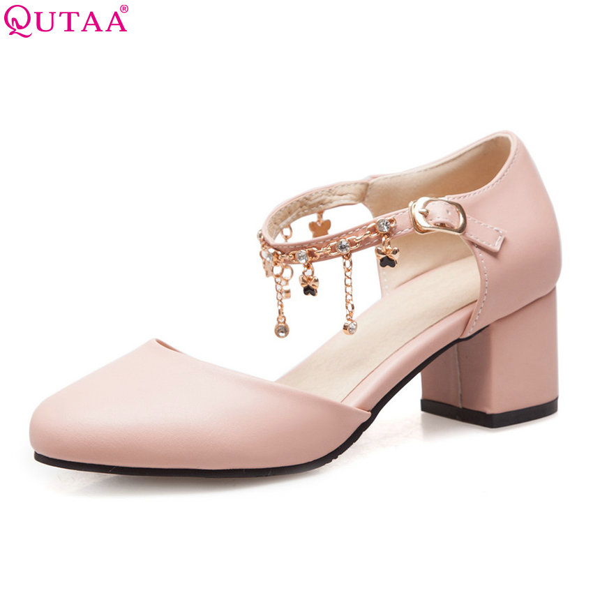 QUTAA 2018 Women Pumps New Sweet Style Round Toe Square Heel Buckle All Match Pu Leather String Bead Ladies Pumps Szie 34-43 цена 2017