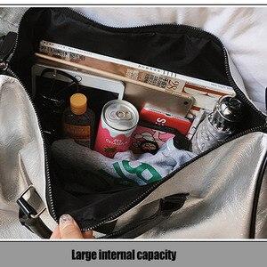 Image 5 - Silber Sport Tasche Dame Gepäck Tasche in Reisetaschen mit Tag Duffel Sporttasche Leder Frauen Yoga Fitness sac de sport Große XA806WD