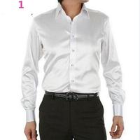 Men Dress Shirt Custom Casual Suits Silk Satin Long sleeve Casual shirts fashion style Groom Shirts white color