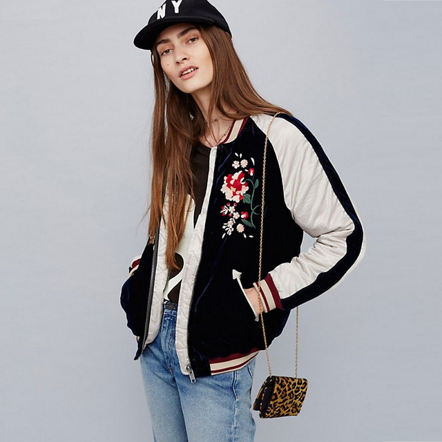 Aliexpress.com : Buy Women Silky & Velvet Spliced Bomber Jacket ...